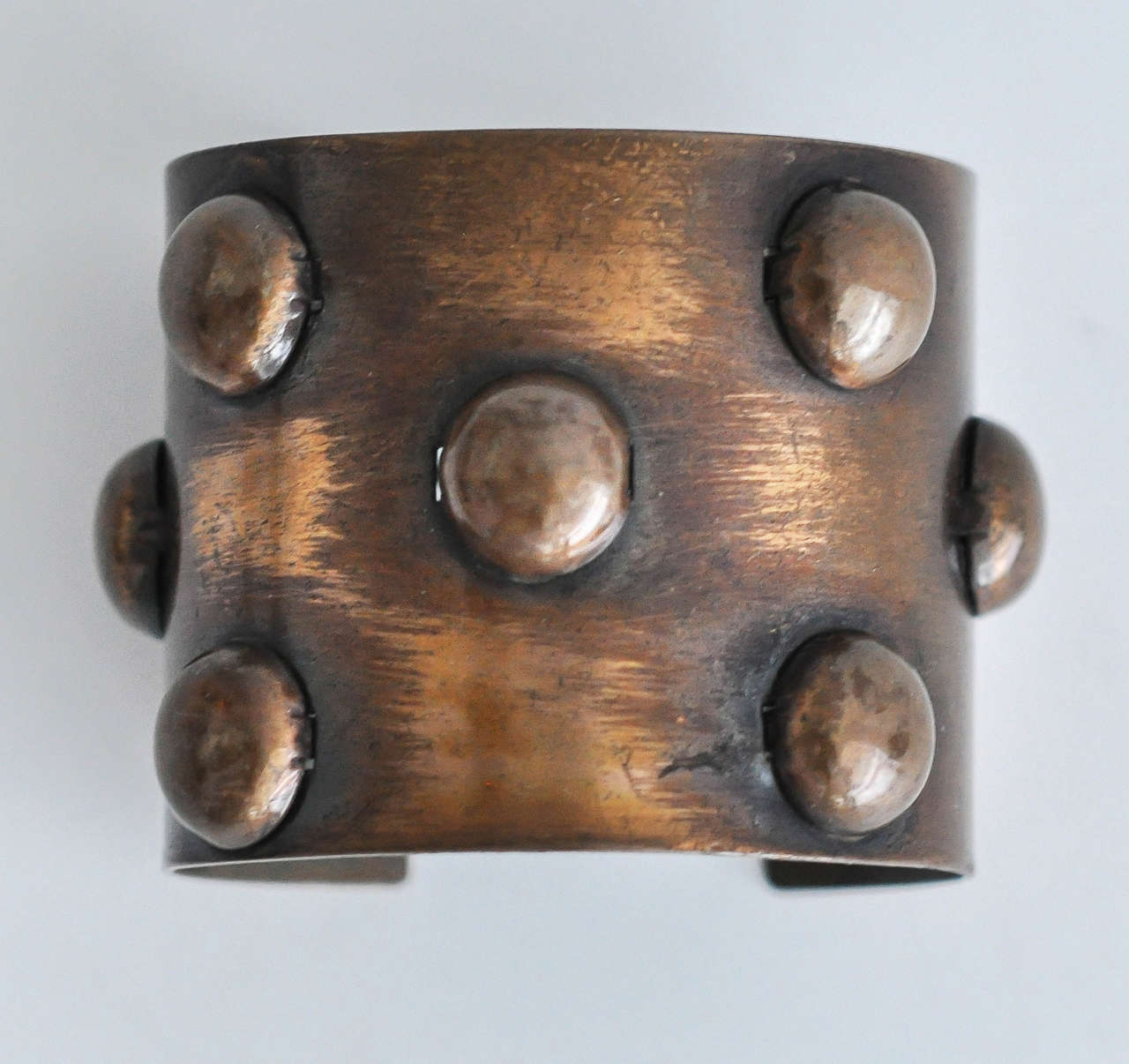 Modernist 1950s Rebajes Geometric Copper Cuff For Sale
