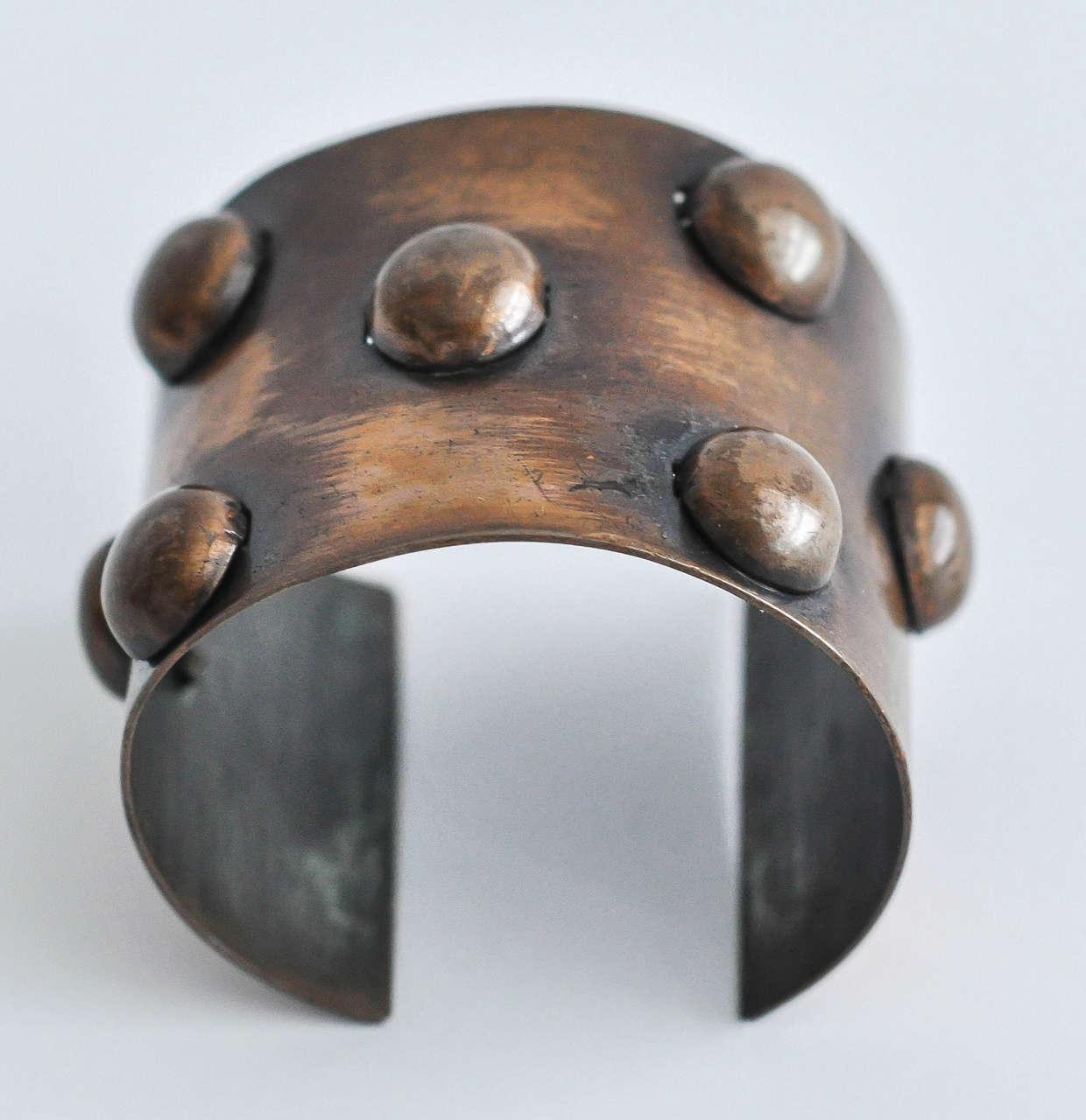 1950s Rebajes Geometric Copper Cuff In Good Condition For Sale In Winnetka, IL