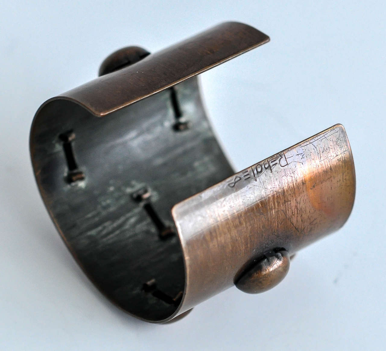 1950s Rebajes Geometric Copper Cuff For Sale 1