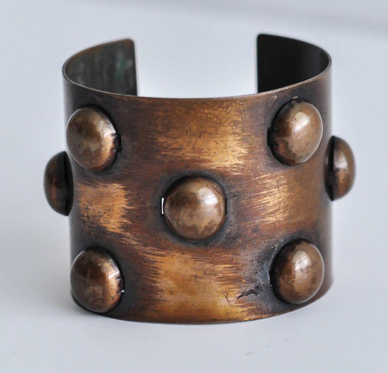 1950s Rebajes Geometric Copper Cuff For Sale 3