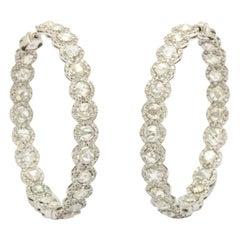 European Cut Diamond Hoops in White Gold