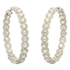 European Cut Diamond Hoops in White Gold