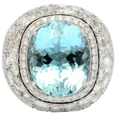 Exquisite Aquamarine Rose Cut Diamond Gold Dome Ring