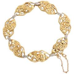 French Diamond Gold Platinum Floral Design Link Bracelet