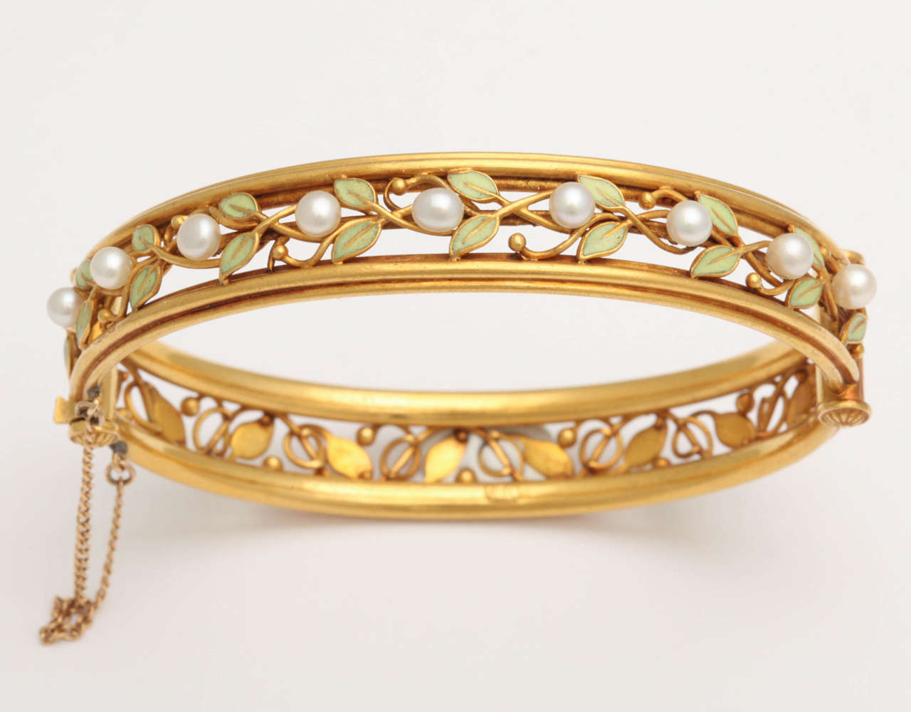 Art Nouveau Arts And Crafts Enamel Pearl Gold Bangle Bracelet For