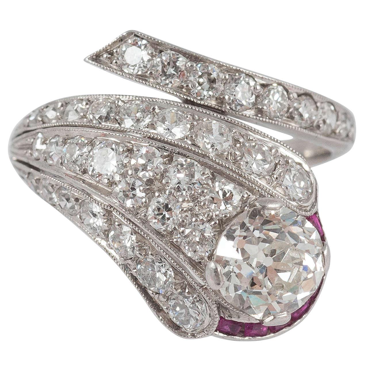 Edwardian Ruby Diamond Platinum Serpent Ring