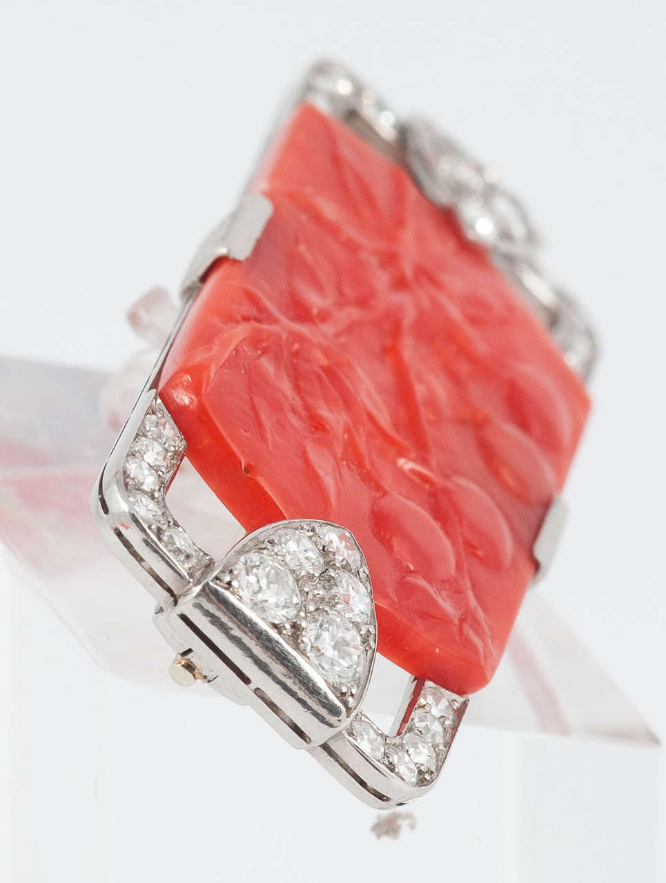 Women's Art Deco Coral Diamond Platinum Pin For Sale