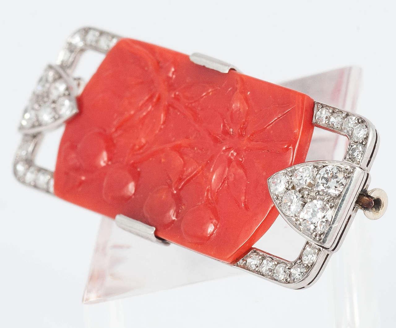 Art Deco Coral Diamond Platinum Pin For Sale 1