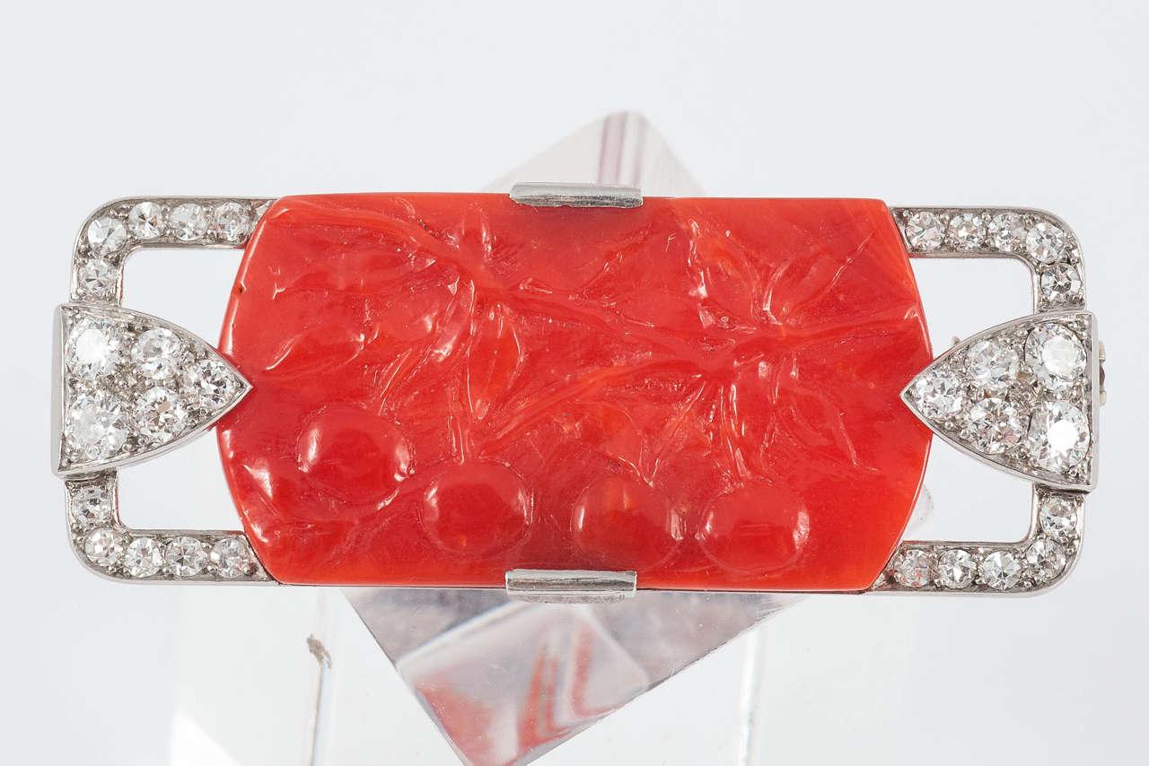 Art Deco Coral Diamond Platinum Pin For Sale 2