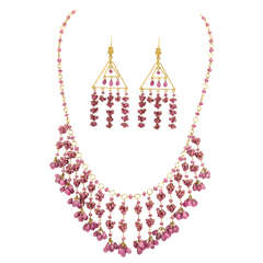 Ruby Bead and Briolette Dangling Necklace and Earrings Set