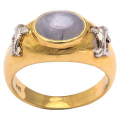 Oval Star Sapphire and Dolphin Ring