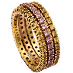 Yellow and Pink Sapphire Gold Stacking Band Rings