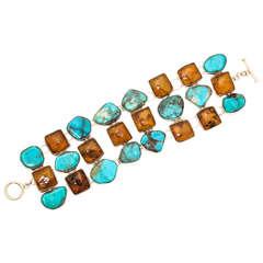 Impressive Turquoise Amber Silver Bracelet