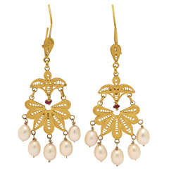 Classical High Carat Gold Dangle Earrings