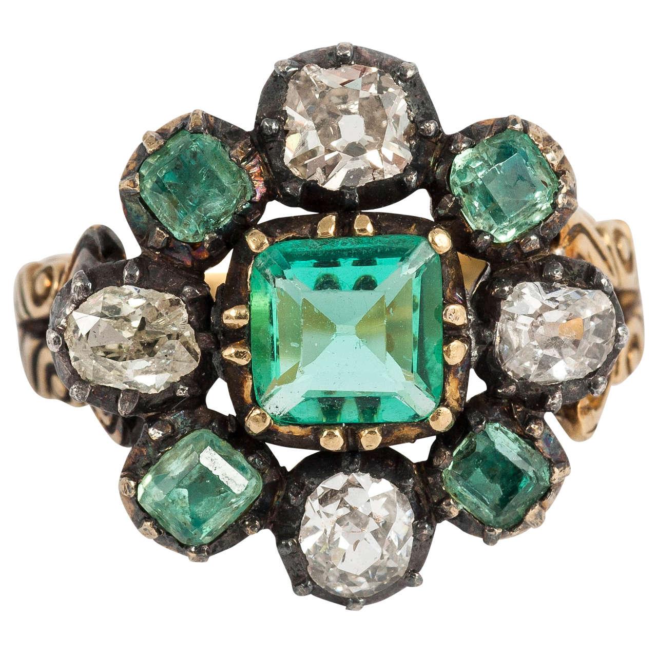 antique georgian emerald gold ring at 1stdibs