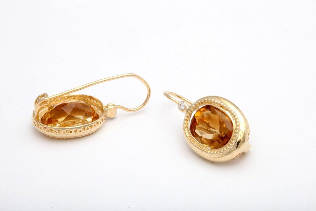 Elegant Citrine Diamond Gold Drop Earrings 4