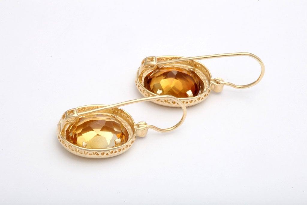 Elegant Citrine Diamond Gold Drop Earrings 5