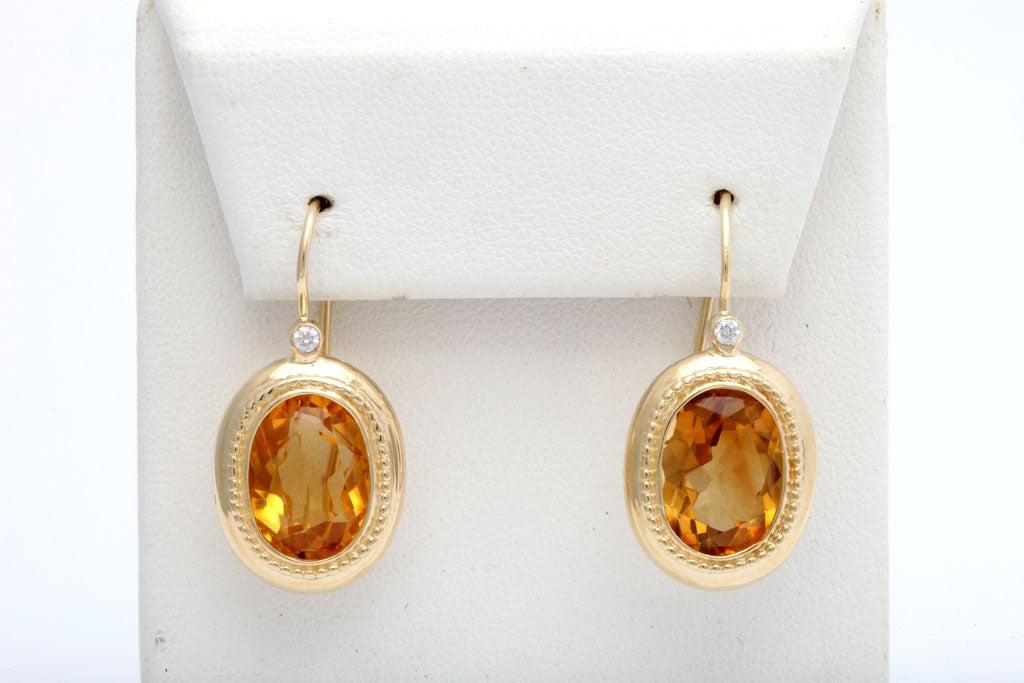 Elegant Citrine Diamond Gold Drop Earrings 2
