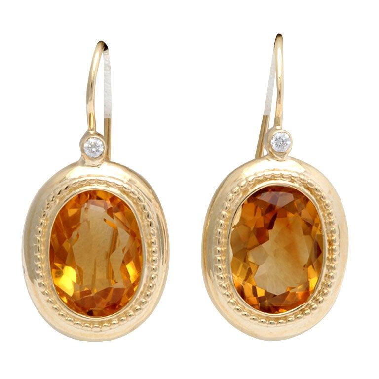 Elegant Citrine Diamond Gold Drop Earrings 1