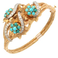 Incredible Floral Turquoise Diamond Covered Gold Watch Bracelet