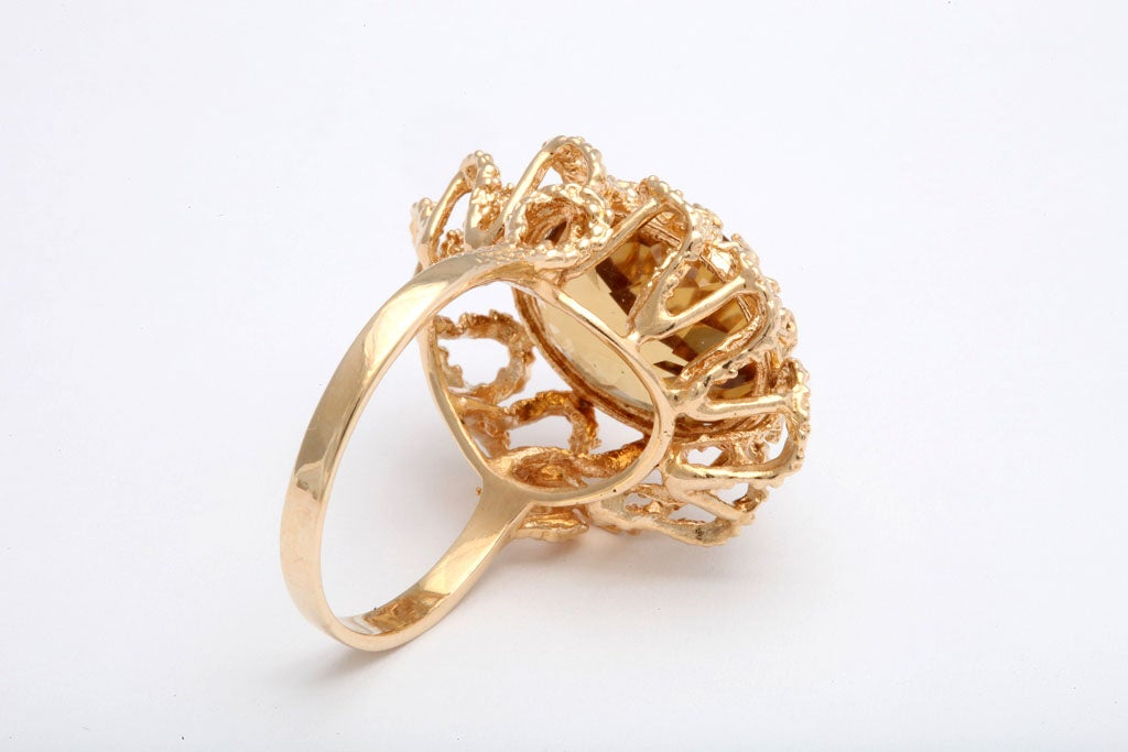 60's Brutalist Citrine and Melted Gold Swirls Cocktail Ring  5