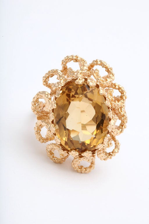 60's Brutalist Citrine and Melted Gold Swirls Cocktail Ring  6
