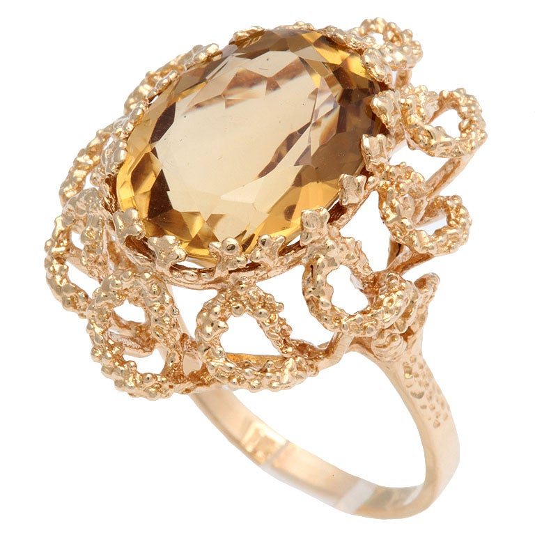 60's Brutalist Citrine and Melted Gold Swirls Cocktail Ring  1