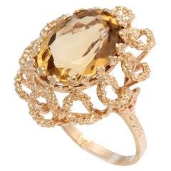 Modernist Citrine Flower Gold Swirls Cocktail Ring