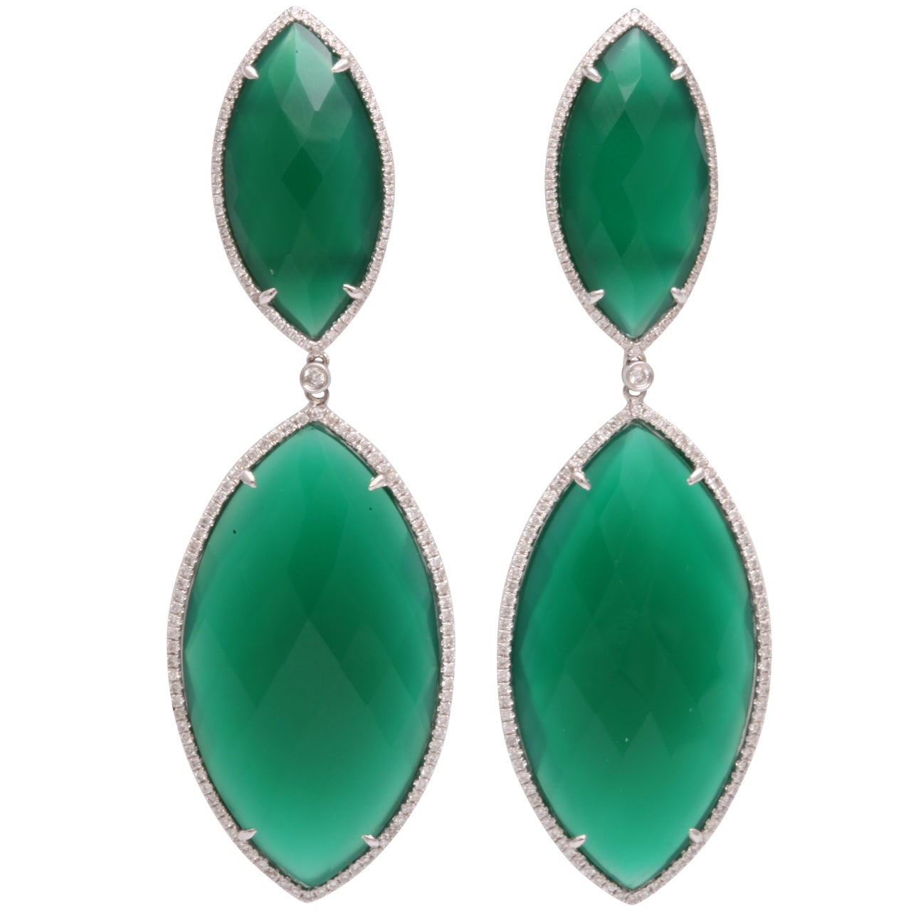 bold green agate earrings at 1stdibs