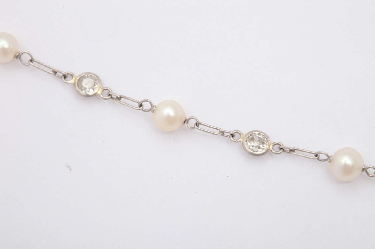 Edwardian Pearl And Diamond By The Yard Pendant Necklace