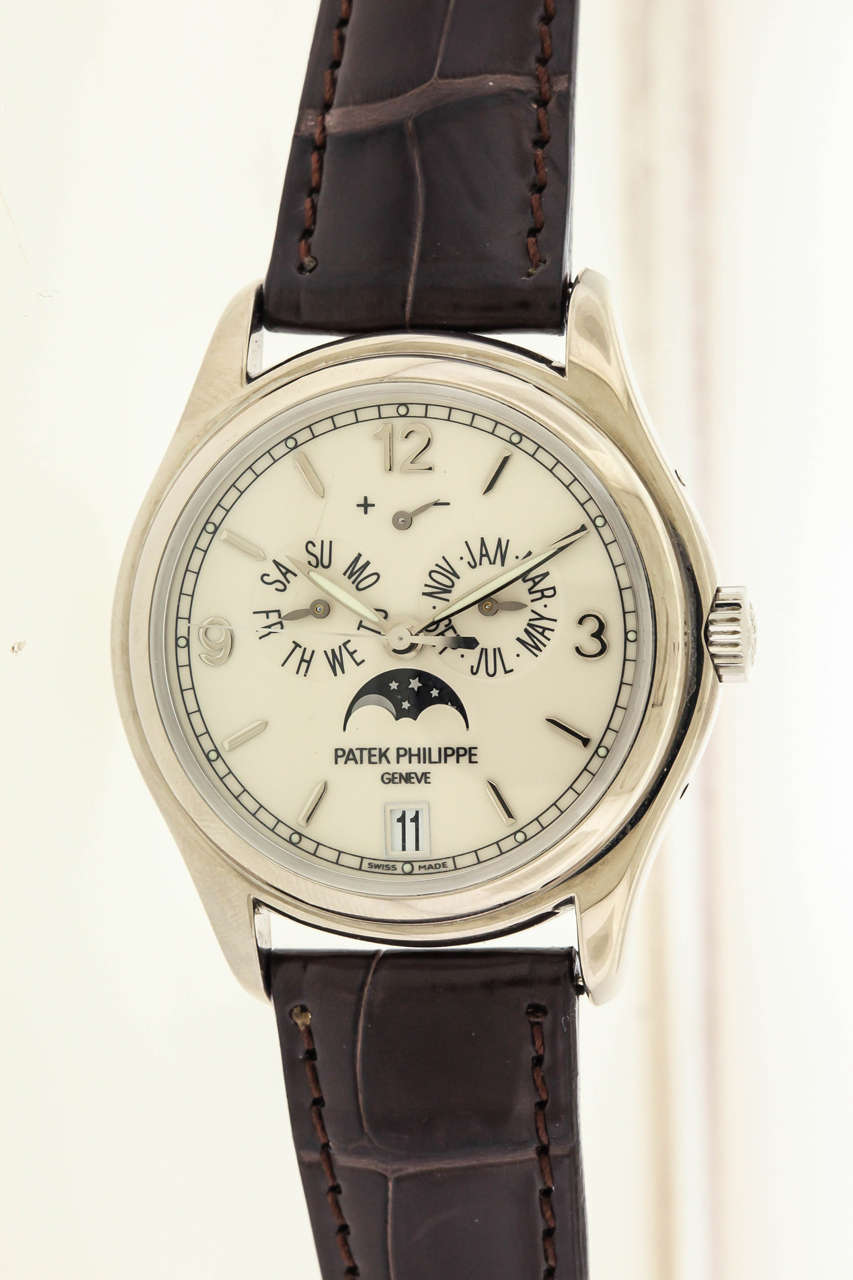 Patek philippe white gold moonphase calendar wristwatch ref 5146g for sale at 1stdibs for Patek philippe moonphase