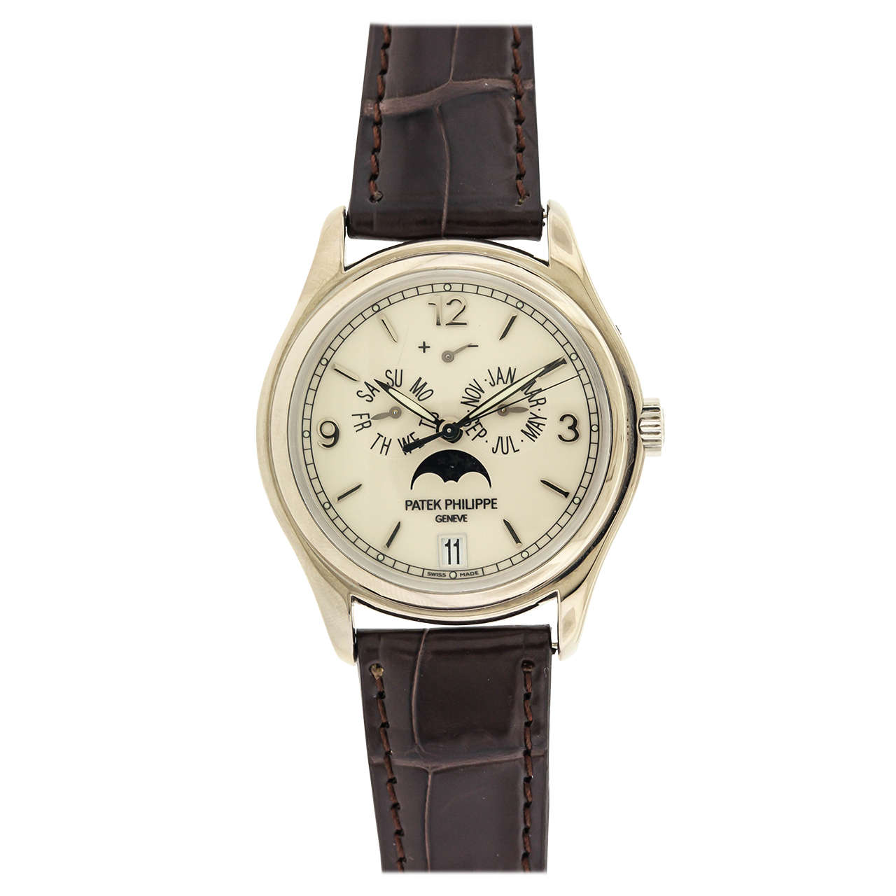 Patek Philippe White Gold Moonphase Calendar Wristwatch Ref 5146G