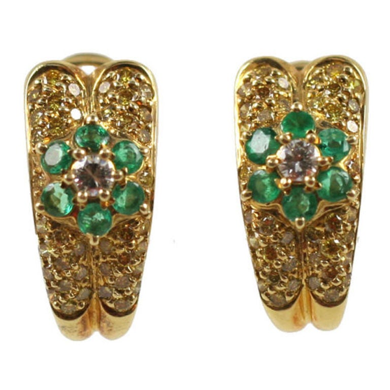 18kt Yellow Gold,  Fancy Yellow Diamonds & Emerald  Earrings
