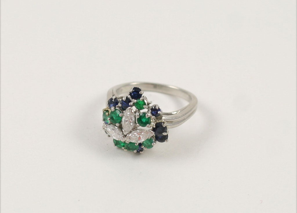 Intensely colorful& chic Platinum,  Marquise shaped Diamond, Sapphire & Emerald Pinky Ring. Signed Hammerman Bros (HB) & 10%Irid. Plat.