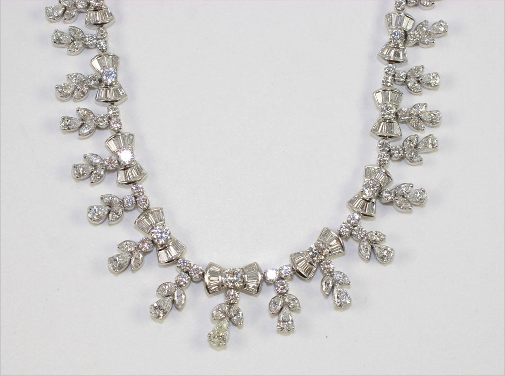 Platinum and Diamond Pearl Shaped Diamond Necklace 3