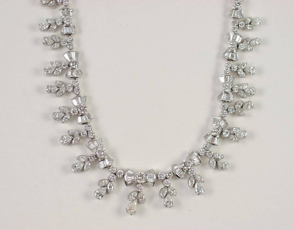 Platinum and Diamond Pearl Shaped Diamond Necklace 4