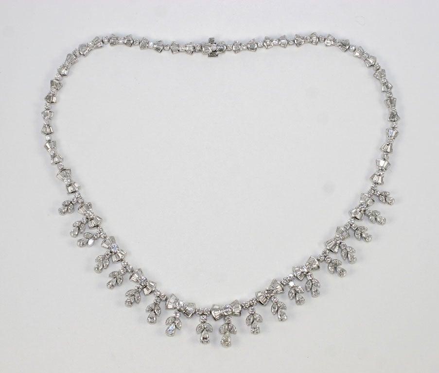 Platinum and Diamond Pearl Shaped Diamond Necklace 5