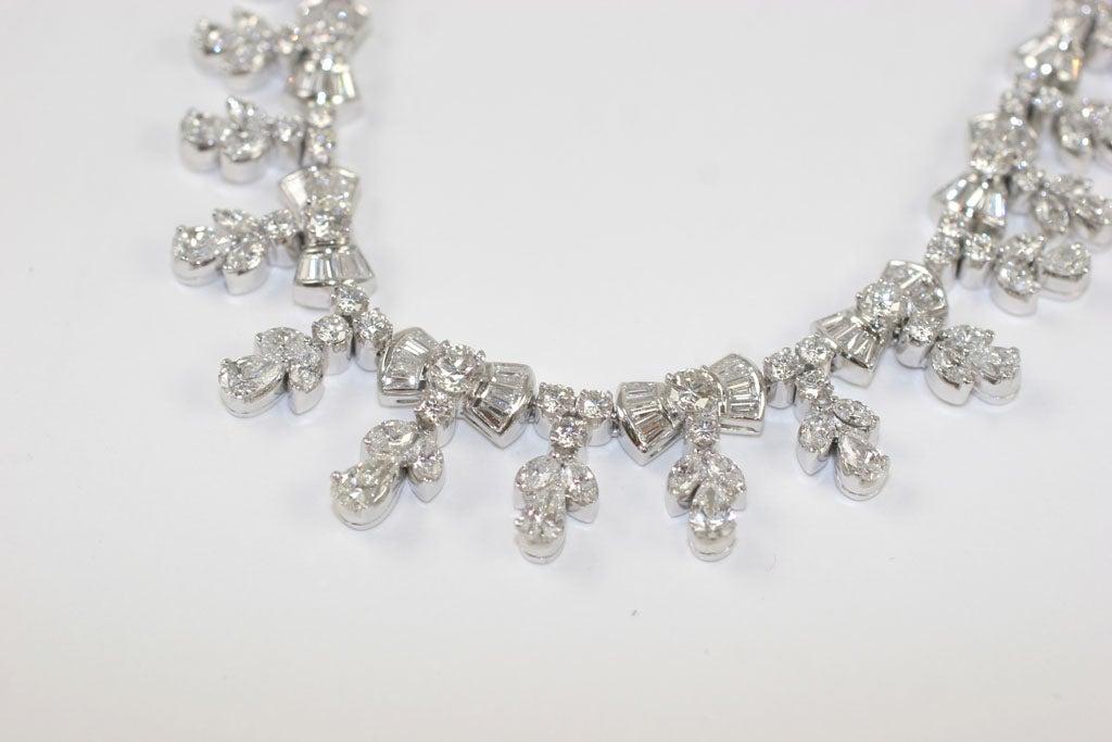 Platinum and Diamond Pearl Shaped Diamond Necklace 6