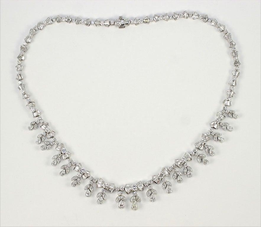 Platinum and Diamond Pearl Shaped Diamond Necklace 2