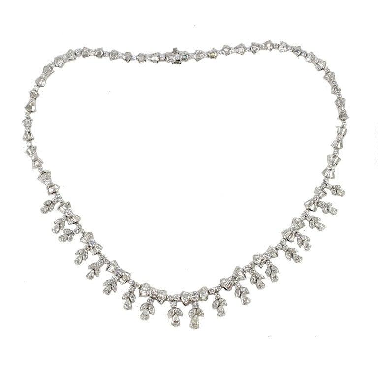 Platinum and Diamond Pearl Shaped Diamond Necklace 1