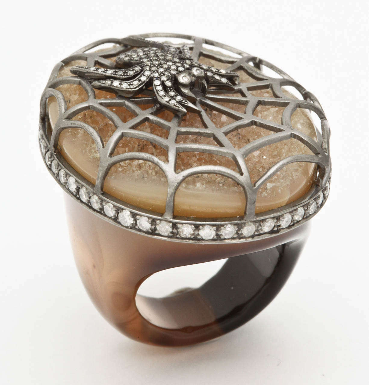 Agate Diamond Silver Spider Ring 2
