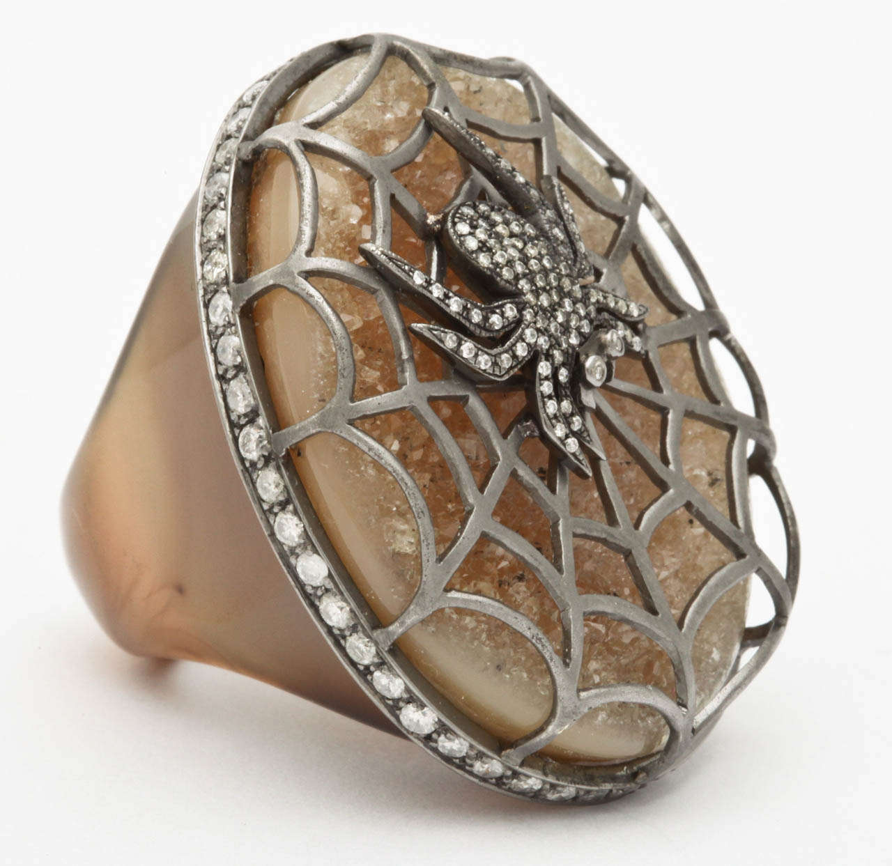 Agate Diamond Silver Spider Ring 3