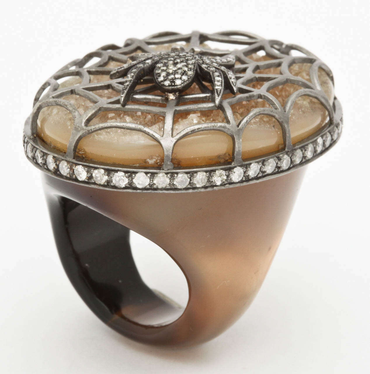 Agate Diamond Silver Spider Ring 6