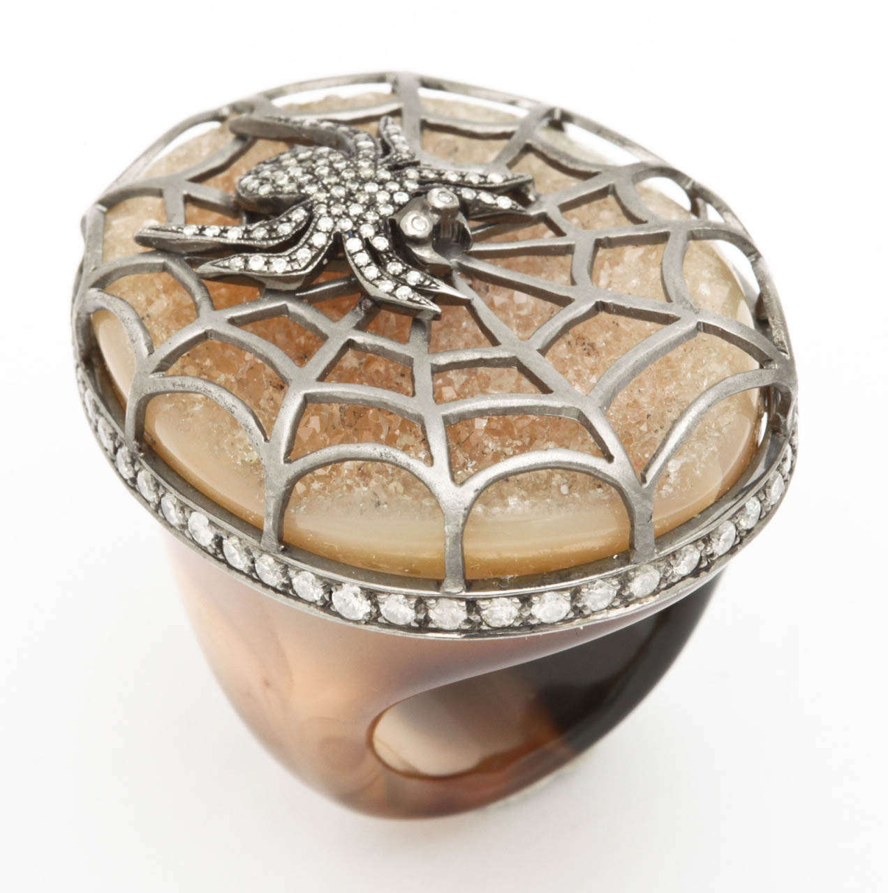 Agate Diamond Silver Spider Ring 9