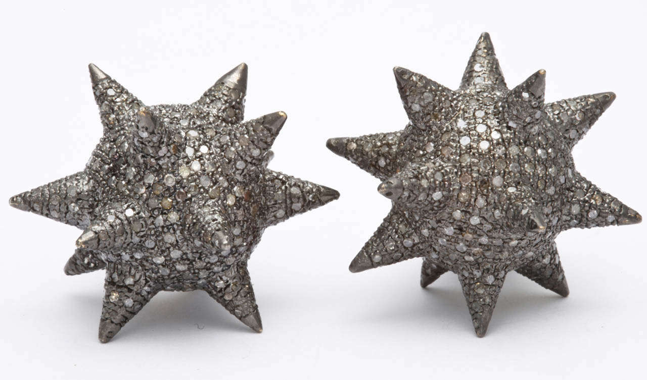 Contemporary Super Star Diamond Silver Earrings For Sale
