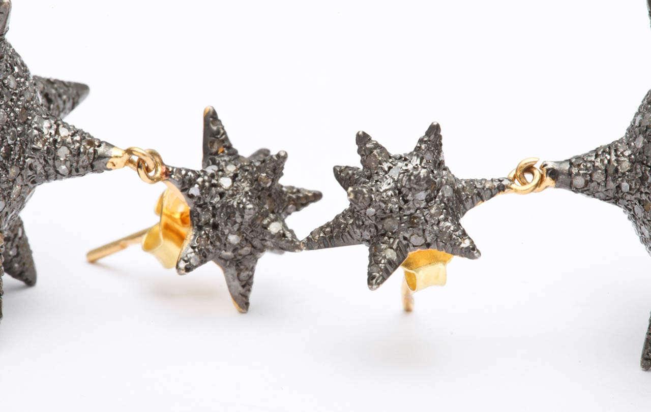 Super Star Diamond Silver Earrings 5