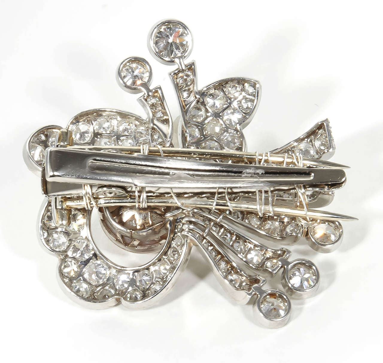 Women's 1930s Pearl Diamond Platinum Hair Piece or Brooch For Sale