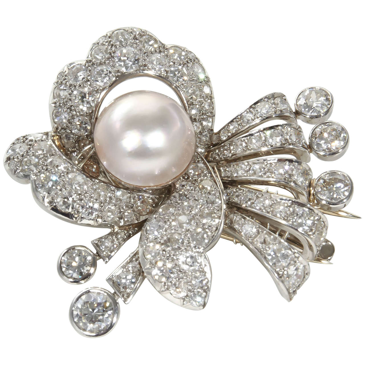 1930s Pearl Diamond Platinum Hair Piece or Brooch For Sale