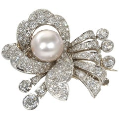 1930s Pearl Diamond Platinum Hair Piece or Brooch