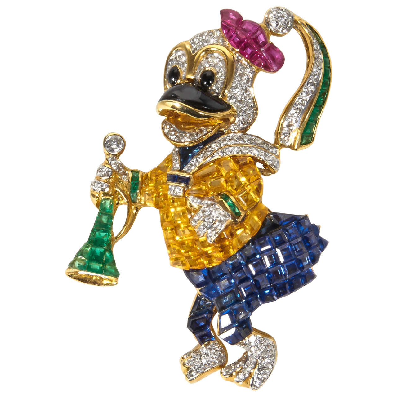 Unique Sapphire Ruby Emerald Diamond Duck Pin